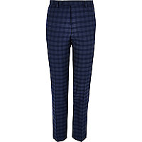Blue check slim fit suit pants