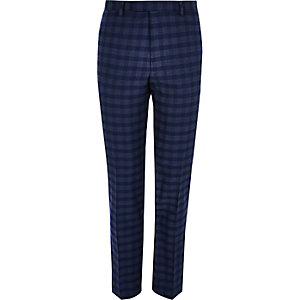 Blue check slim fit suit trousers