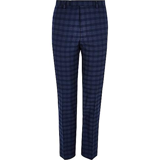 Blue check slim fit suit pants