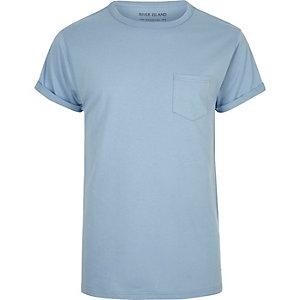 T-shirt coupe classique en coton bleu clair