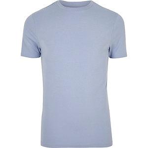 T-shirt coupe près du corps en coton bleu clair