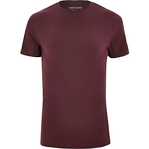 Dark red muscle fit T-shirt