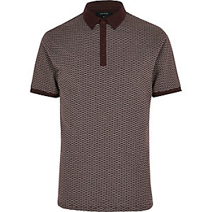 Dark red jacquard polo shirt
