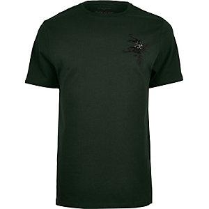 T-shirt vert motif panthère à sequins
