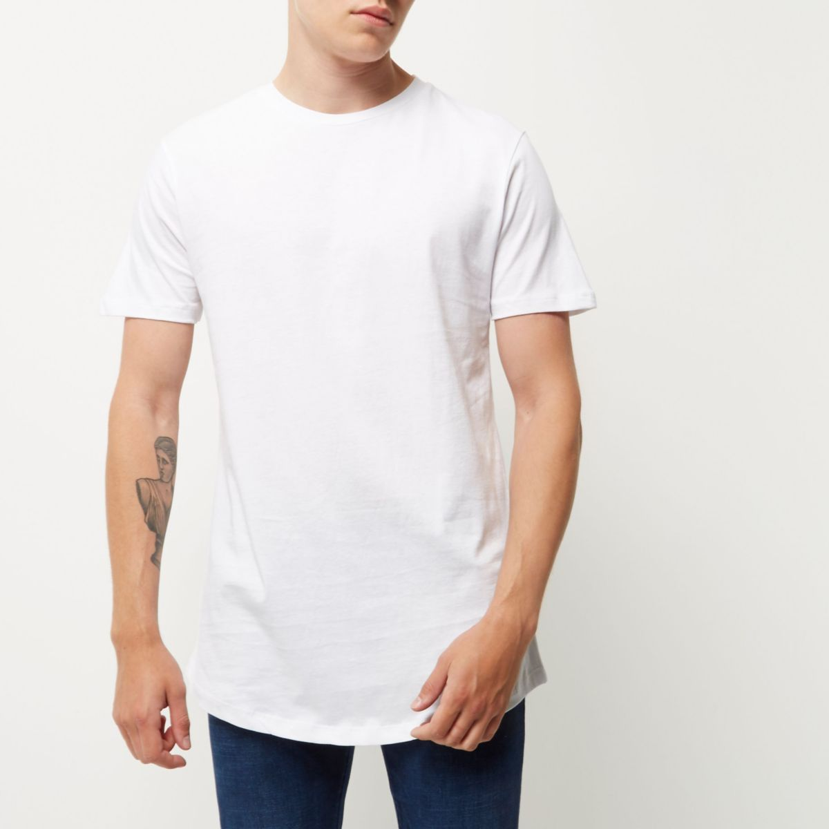 White curved hem longline t shirt t shirts t shirts for Who makes the best white t shirts