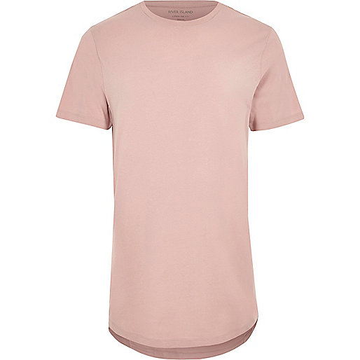 Langes T-Shirt in Hellrosa mit abgerundetem Saum