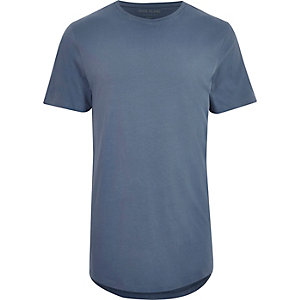 Blue curved hem longliine T-shirt
