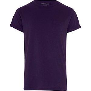 T-Shirt in Lila mit Rollärmeln