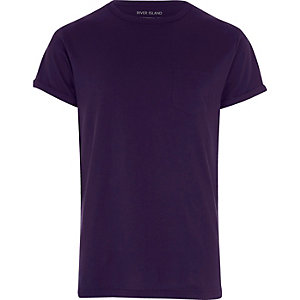 Purple roll sleeve T-shirt