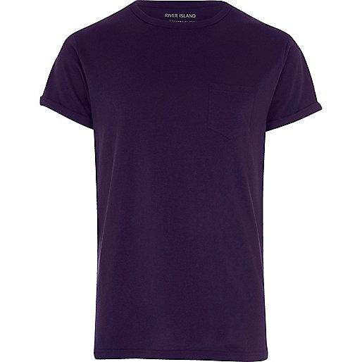 Purple roll sleeve T-shirt