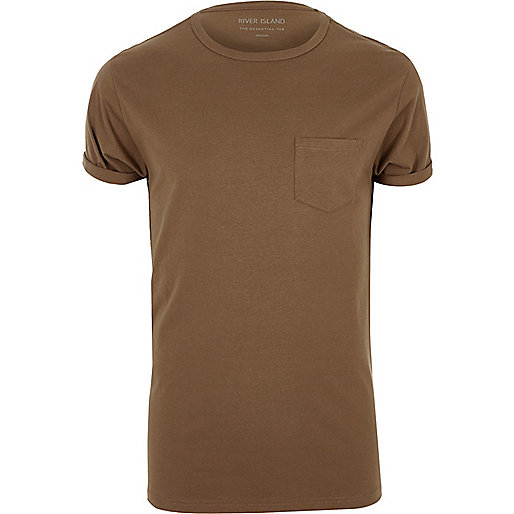 Brown roll sleeve T-shirt