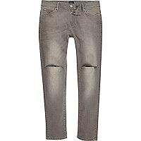 Grey wash ripped knee skinny Sid jeans