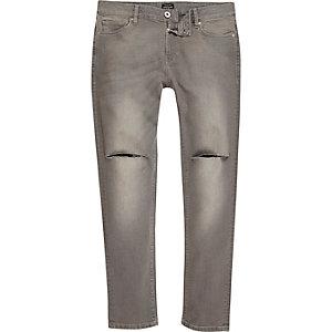 Sid - Grijze wash skinny jeans met gescheurde knie