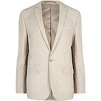 Cream slim fit suit jacket