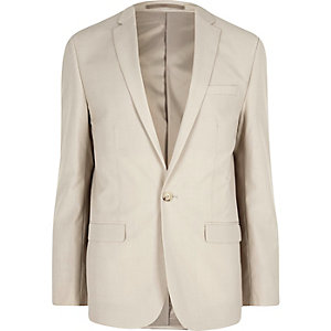 Cream slim fit suit jacket