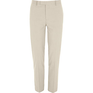Cream slim fit suit trousers