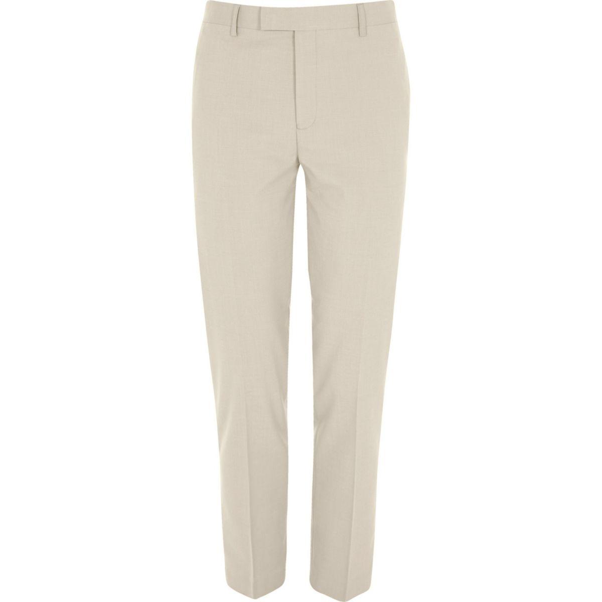 Cream slim fit suit trousers