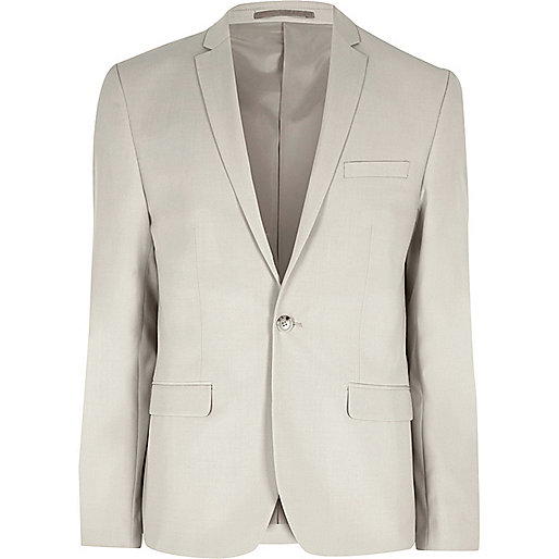 Cream skinny fit suit jacket