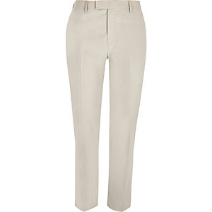 Cream skinny fit suit trousers