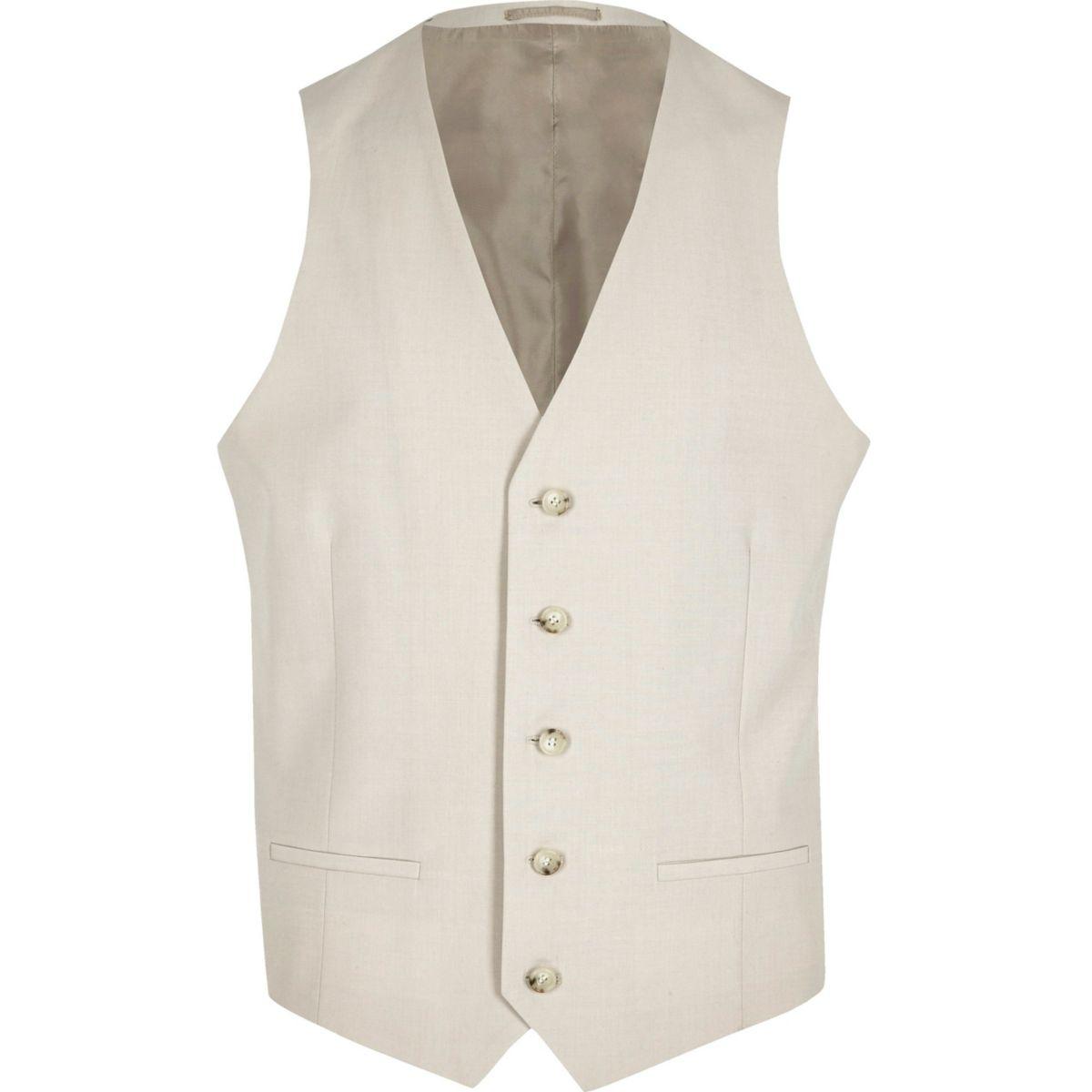Cream suit vest