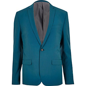 Teal blue skinny fit suit jacket