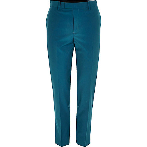 Teal blue skinny fit suit trousers
