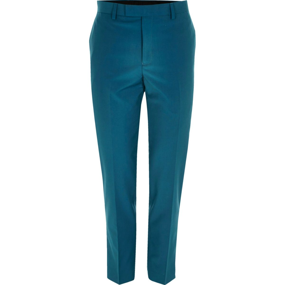 Teal blue skinny fit suit pants