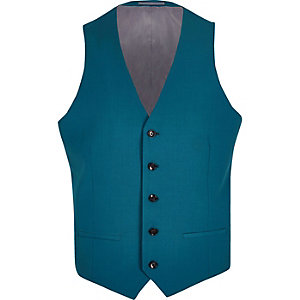Teal blue suit waistcoat