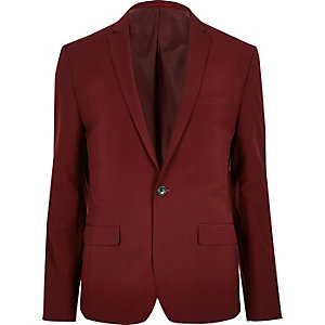Red skinny fit suit jacket