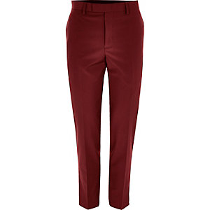 Red skinny fit suit pants