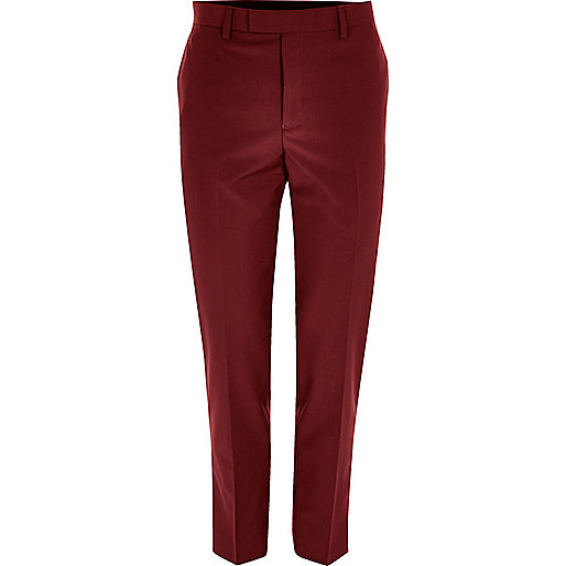 Red skinny fit suit trousers