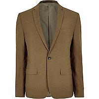 Brown skinny fit suit jacket