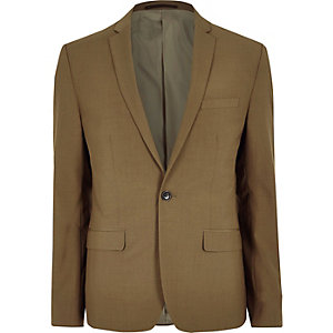 Brown skinny fit suit jacket
