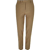 Brown skinny fit suit pants