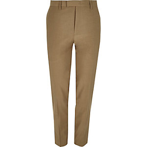 Pantalon de costume skinny marron