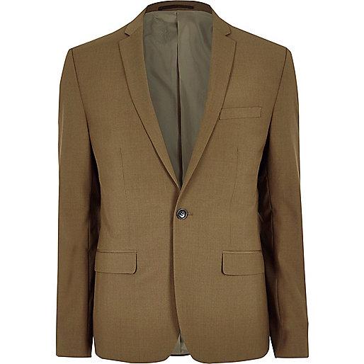 Brown slim fit suit jacket
