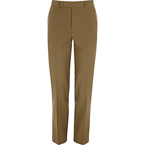 Brown slim fit suit trousers