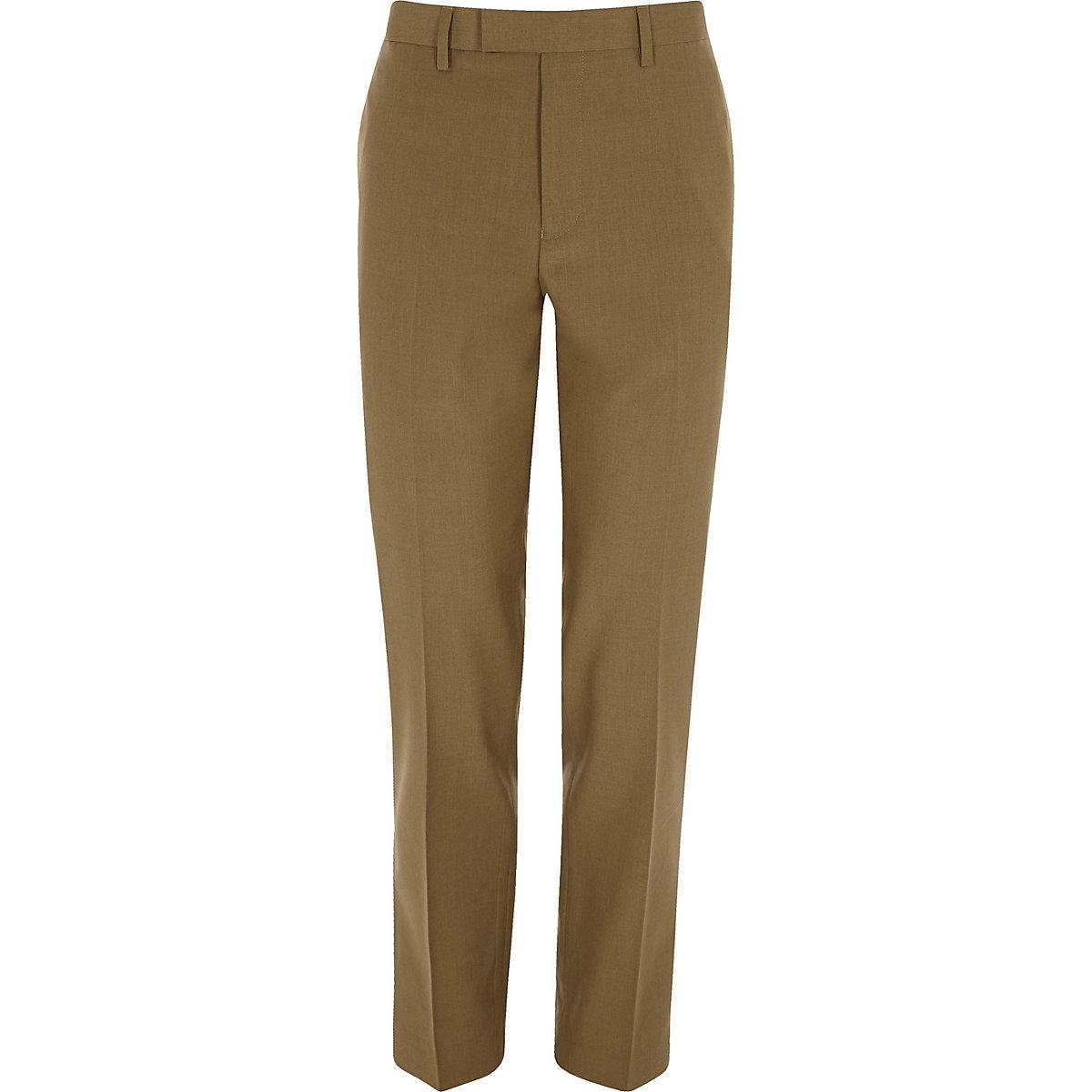 Brown slim fit suit pants