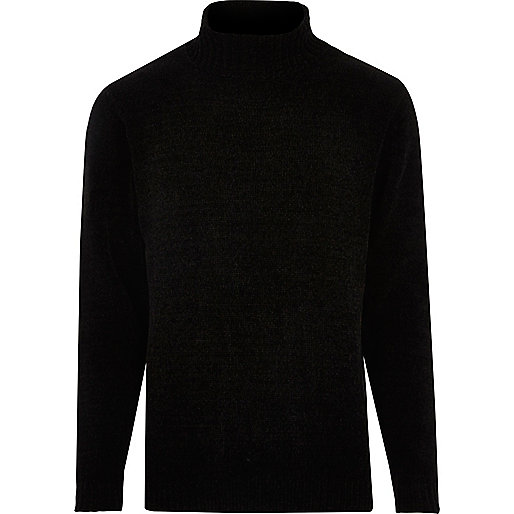 Black soft roll neck jumper
