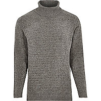 Grey soft roll neck jumper
