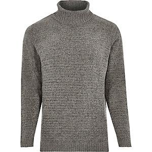 Grijze zachte pullover met col