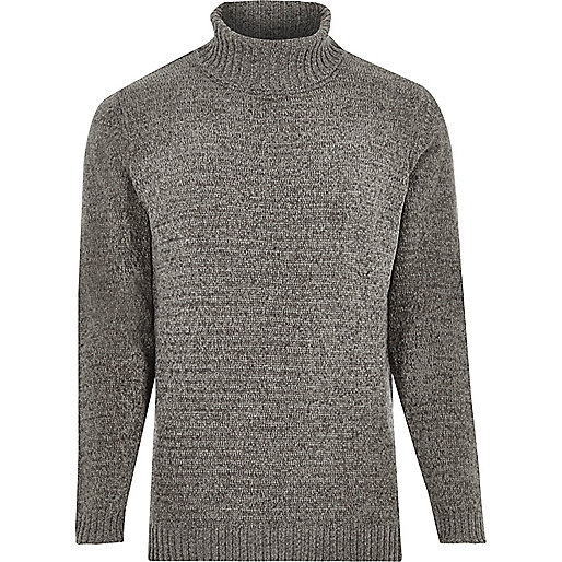 Grey soft roll neck sweater