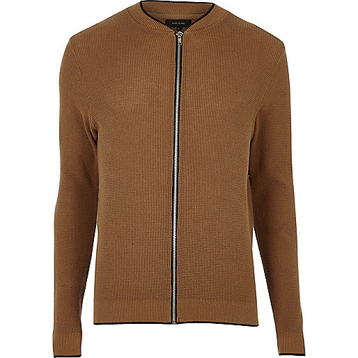 Brown ribbed cardigan bomber jacket