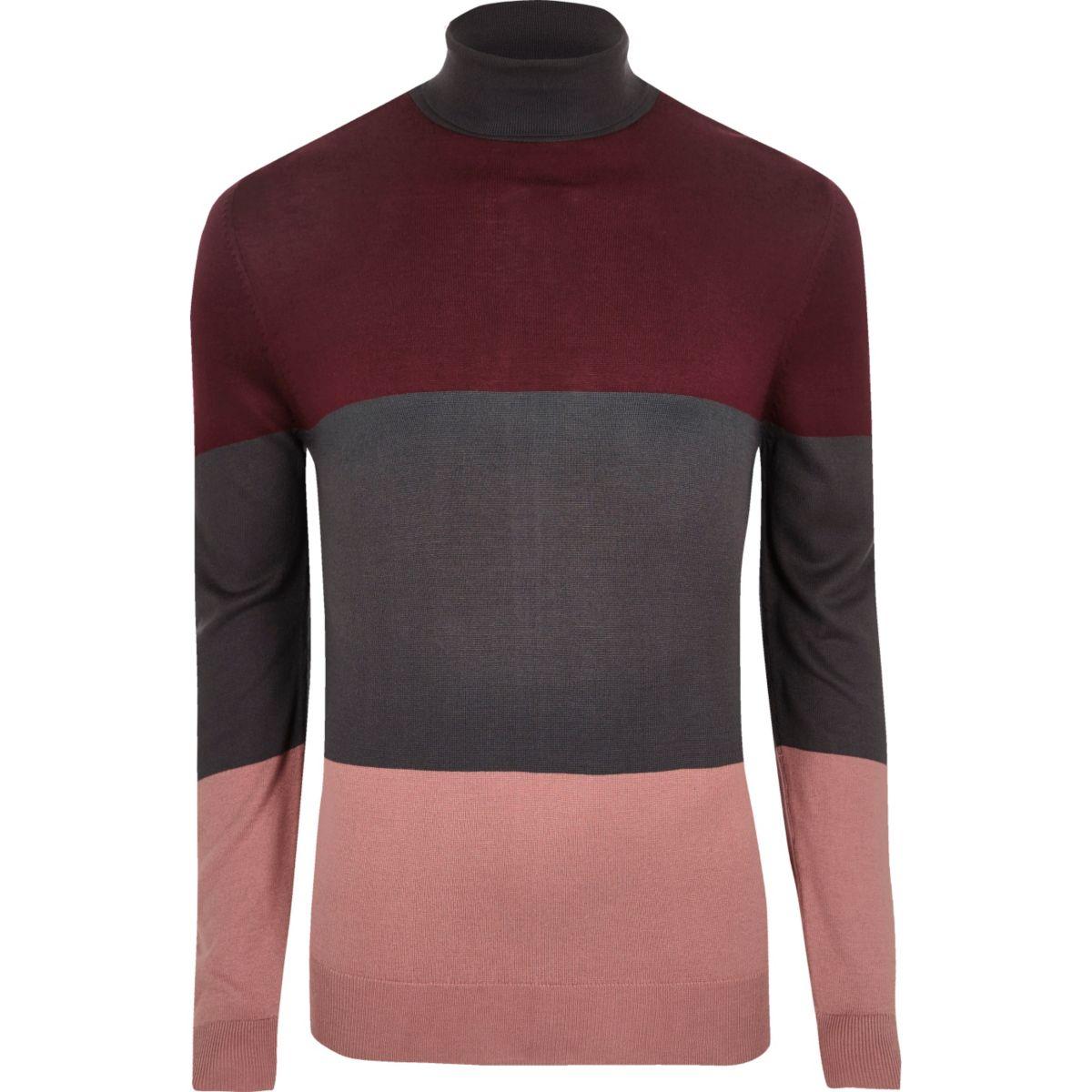 Charcoal grey colour block roll neck jumper