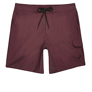 Dark red pocket board shorts