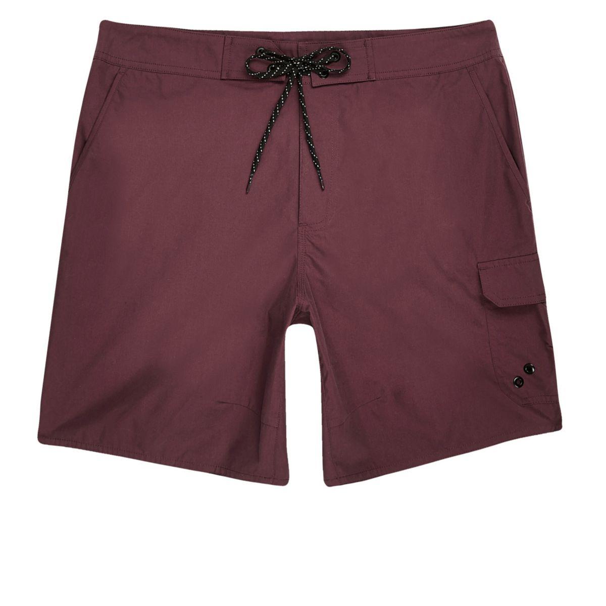 Dark red pocket board shorts