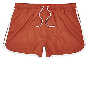 Short de bain orange foncé court
