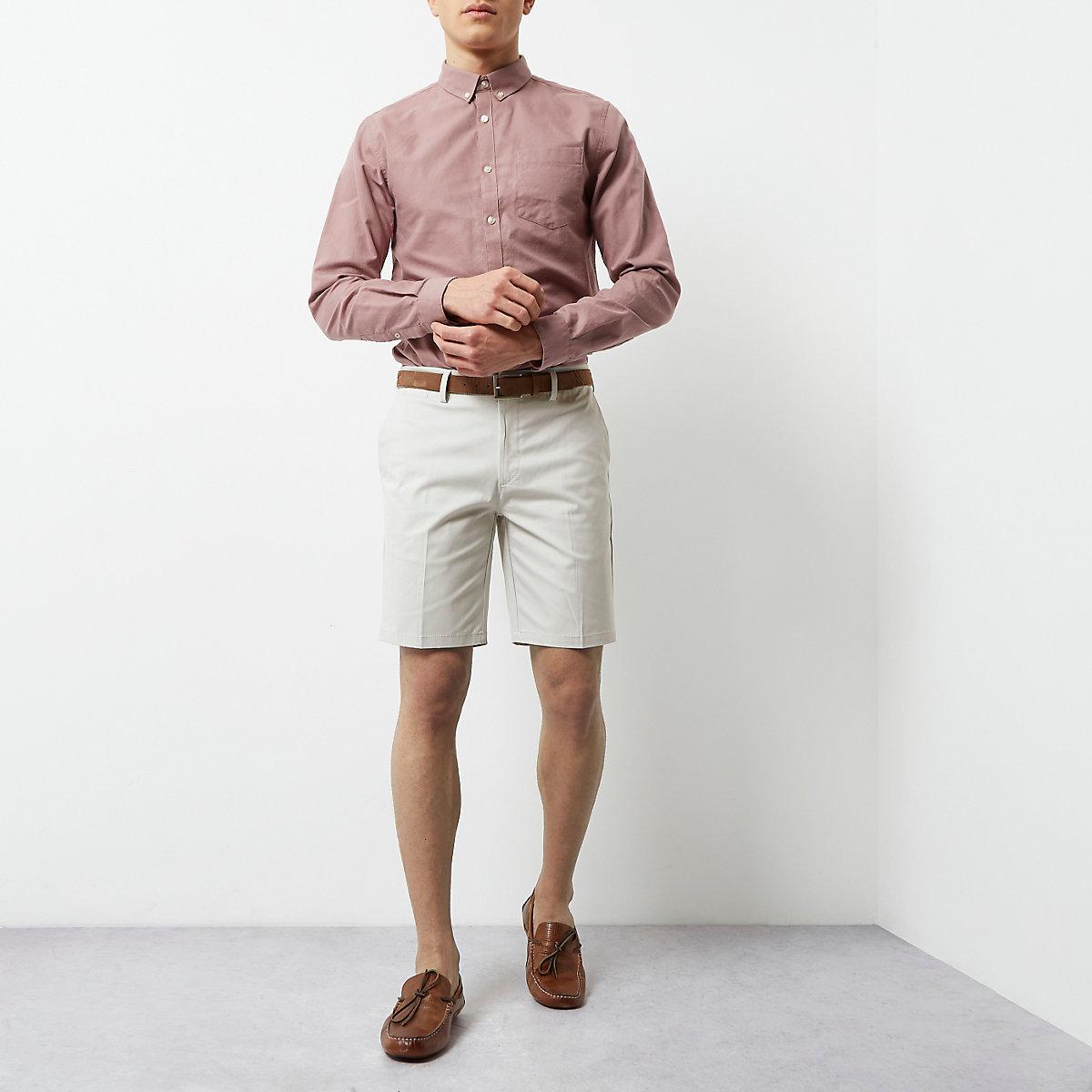 Cream belted chino shorts