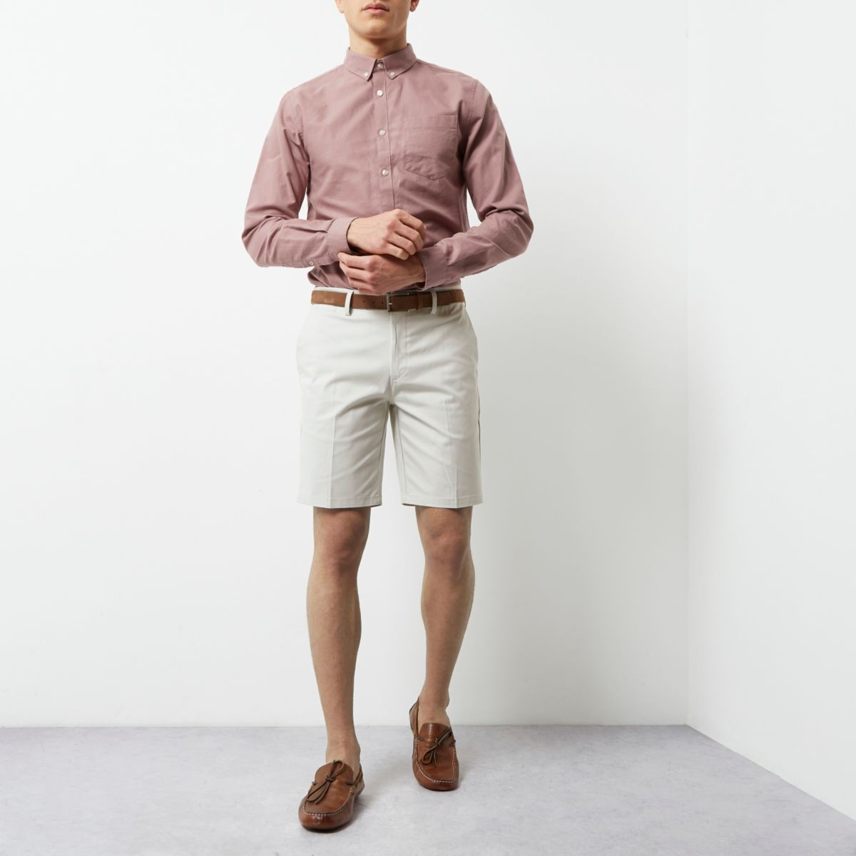 Cream belted chino shorts
