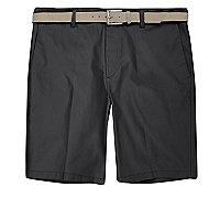 Dark grey belt detail slim fit shorts